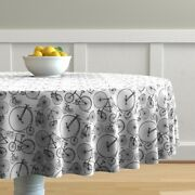 Round Tablecloth Bicycle Bicycles Black White Vintage Kids Antique Cotton Sateen