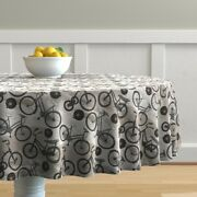 Round Tablecloth Vintage Black And White Bicycles Antique Sepia Cotton Sateen