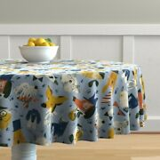 Round Tablecloth Fancy Dogs Bulldog In Hats Doggy Pet Puppy Funny Cotton Sateen