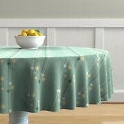 Round Tablecloth Mid Century Mod Lava Lamps Stripes Mint Green Cotton Sateen
