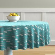 Round Tablecloth Oars Olympic Sport Boating Rowing Water Nautical Cotton Sateen