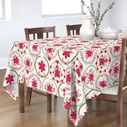 Tablecloth Wreath Holly Rose Christmas Tag Poinsettia Gift Tag Cotton Sateen