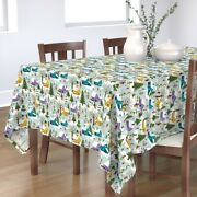 Tablecloth Christmas Winter Village People Snow Trees Houses Cotton Sateen