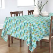 Tablecloth Mid Century Mod Retro Dishes Tea Coffee Pots Blue And Cotton Sateen