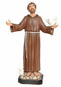 Statue Saint Francesco Dand039assisi Cm 130 - In Fibreglass With Eyes Painted