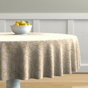 Round Tablecloth Ripple Abstract Water Squiggle Doodle Marks Fun Cotton Sateen