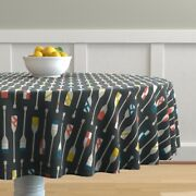 Round Tablecloth Rowing Oars Canoe Paddle Team Crew Vintage Ocean Cotton Sateen