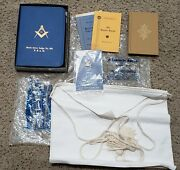 Vintage Masonic Bible With Box, Booklets, Pin, Apron, And Eastern Star Book. Lot