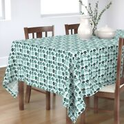 Tablecloth Abstract Circle Watercolor Watercolour Mint Green Teal Cotton Sateen