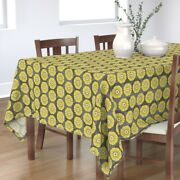 Tablecloth Floral Retro Mid Century Large Scale Gold Herb Cotton Sateen