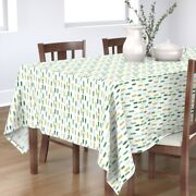 Tablecloth Watercolor Paint Green Gold Mint Stripes Cotton Sateen