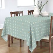 Tablecloth Blue Sage Morocco Dogwood Floral Modern Contemporary Cotton Sateen