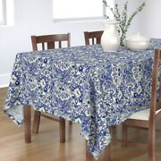 Tablecloth Blue China Dish Ceramic Porcelain White Mexican Cotton Sateen