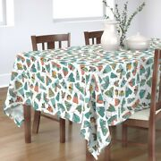 Tablecloth Moth Doodle Illustrated Bugs Cute Pink And Aqua Cotton Sateen