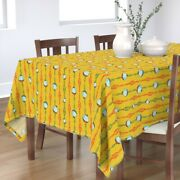 Tablecloth Fishing Summer Manly Vintage Retro Bobbers Lures Lake Cotton Sateen