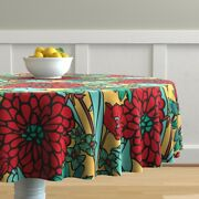 Round Tablecloth Yellow Red Butter Cream Black Floral Jumbo Cotton Sateen