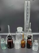 Lot Of 10 Vintage Pharmacy Medical Apothecary Beaker Pyrex Funnel Science Lab