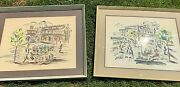 Pair Of Large Rare 1950andrsquos Paris France Watercolor Paintings By Ali