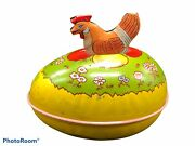 Vtg J Chein And Co Tin Easter Egg Yellow Rooster Grass Flowers Usa Spring Opens