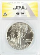 1988 American Silver Eagle 1 Gem Uncirculated Anacs Ms70