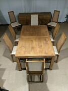 Henredon Vera Cruz Distressed Oak Dining Table Buffet 8 Campaign Caned Chairs