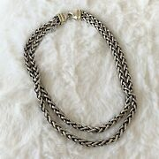 David Yurman Silver Wheat Link 18k Yellow Gold Double Chain 15 Necklace Pouch