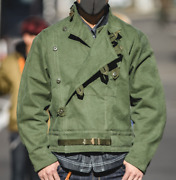 Mens Coats Vintage Style Motorcycle Short Jacket Cotton Workwear Army Green Slim