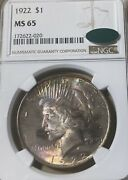 1922 Ngc/cac Ms65 Peace Silver Dollar