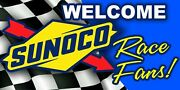 Sunoco Welcome Race Fans Vinyl Banner 4 X 8and039 Racing Garage Trailer Shop Sign