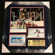 Mike Eruzione Signed 1980 Miracle On Ice Team Usa Framed Gold Medal Game Ticket