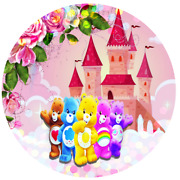 Customize Round Circle Care Bear Backdrop Baby Shower Cute Banner Personalizado