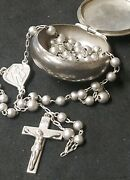 Vintage B.b. Sterling Silver Rosary Necklace W/ Sterling Saint Christopher Case