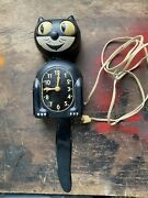 Original-kit Cat Klock Clock-vintage-motor Works Eyes Turn Tail Wags 1930and039s-40and039s