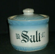 Maple Leaf Stenciled Blue And White Salt Monmouth Western Stoneware Co. Illinois