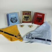 Boys Scouts Cub Scout Bear Wolf Handbook Lot Handkerchiefs And Slides As Is