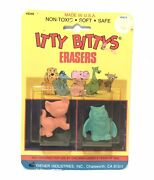 Vintage Diener Itty Bittys Erasers No. 9240 Nos 1980's Carded Usa Cat And Owl