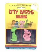Vintage Diener Itty Bittys Erasers No. 9240 Nos 1980's Carded Usa Mouse And Monkey