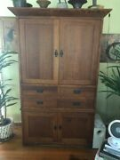 Mission Oak Arts And Crafts Entertainment Armoire Tv