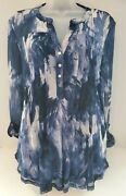 New Ava And Grace Blue And White Tunic Pintuck Mesh Overlay Blouse 3/4 Tab Sleeves L