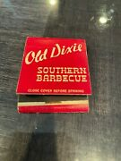 Vintage Old Dixie Southern Barbecue Front Strike Full Unstruck Matchbook