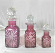 3 Bohemian Glass Red Cut To Clear Perfume Or Dresser Bottles, Cut Glass Stoppers