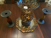 Partylite™ Global Fusion Glass Mosaic Hurricane W/tealight Tree 12w/two Candle