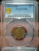 1909-s Vdb 1c Lincoln Head Wheat Cent Penny Pcgs Vf25 Keydate Coin