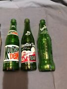 Vintage Green And Clear Soda Bottles, 7-up, Sprite, Mountain Dew, Root Beer Set 7