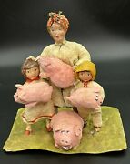Ussr Christmas Tree Toy Ornament Vintage Decoration Cotton Family And 4 Pigs