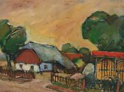 Painting Signed Landscape Farmhouse Dated 87