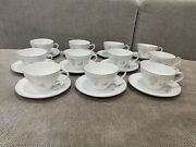 Japanese Noritake China Porcelain Rosay 6216 Pattern Set Of 11 Cups And Saucers