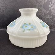 Antique Glass Hurricane Lamp Shade 10 Blue Floral Hand Painted Fitter Vintage