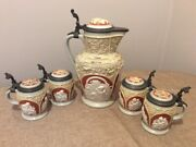 Villeroy And Boch Antique 19th Century Cameo Lidded Stein Set - Rare