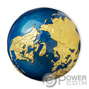 Blue Marble Gold Plating Earth Spherical 3 Oz Silver Coin 5 Barbados 2021